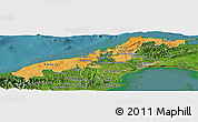 Political Shades Panoramic Map of Colon, satellite outside