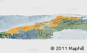 Political Shades Panoramic Map of Colon, semi-desaturated