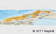 Political Shades Panoramic Map of Colon, shaded relief outside