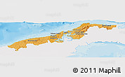Political Shades Panoramic Map of Colon, single color outside