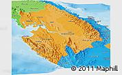 Political Shades Panoramic Map of Darien