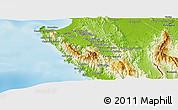 Physical Panoramic Map of Sambu