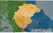 Political Shades 3D Map of Herrera, darken
