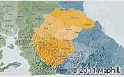 Political Shades 3D Map of Herrera, semi-desaturated