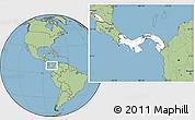 Blank Location Map of Panama, savanna style outside
