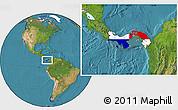 Flag Location Map of Panama, satellite outside