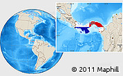 Flag Location Map of Panama, shaded relief outside
