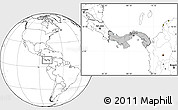Gray Location Map of Panama, blank outside