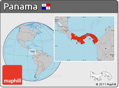 Gray Location Map of Panama