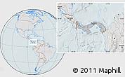 Gray Location Map of Panama, lighten, hill shading