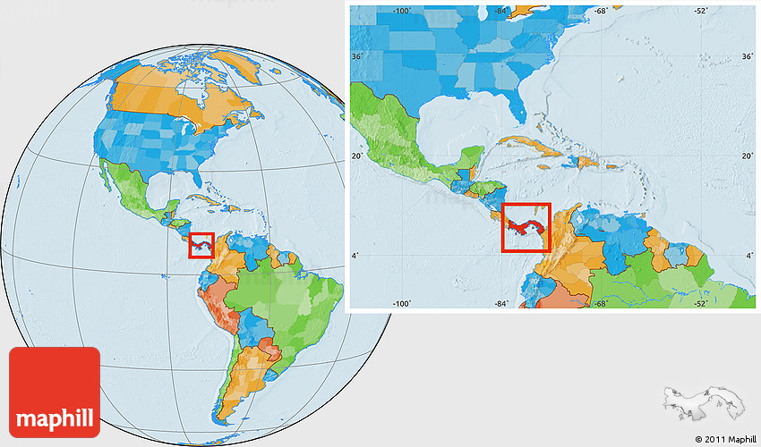 Political Location Map Of Panama Within The Entire Continent - Map panama