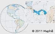 Political Location Map of Panama, lighten, semi-desaturated