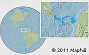 Political Location Map of Panama, savanna style outside, hill shading