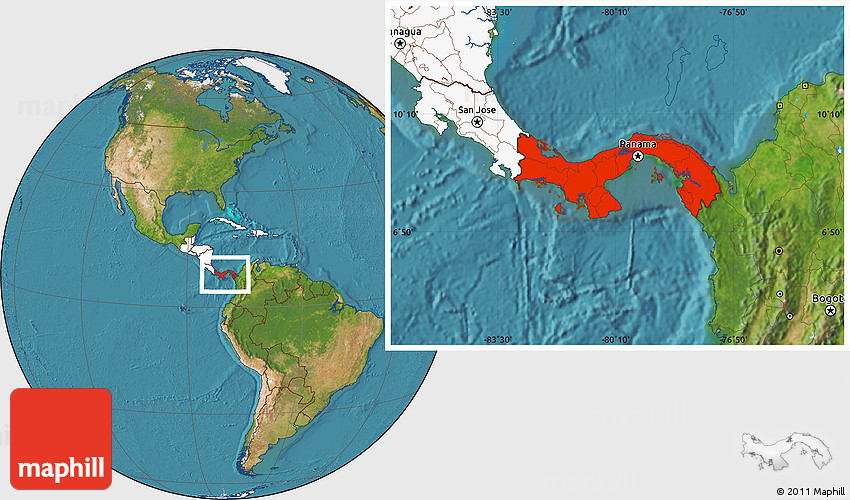 Satellite Location Map Of Panama Highlighted Continent - Where is panama