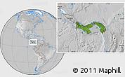 Satellite Location Map of Panama, lighten, desaturated