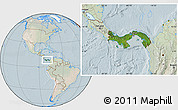 Satellite Location Map of Panama, lighten