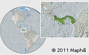 Satellite Location Map of Panama, lighten, semi-desaturated