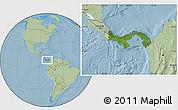 Satellite Location Map of Panama, savanna style outside, hill shading