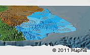 Political Shades Panoramic Map of Los Santos, darken