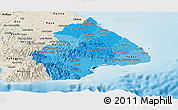 Political Shades Panoramic Map of Los Santos, shaded relief outside