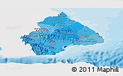 Political Shades Panoramic Map of Los Santos, single color outside