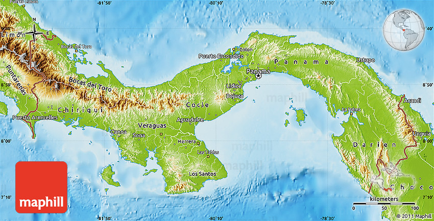 Topographic Map Of Panama.Physical Map Of Panama