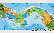 Political Map of Panama, satellite outside, bathymetry sea