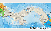 Shaded Relief Map of Panama, political outside, shaded relief sea