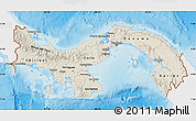 Shaded Relief Map of Panama, single color outside