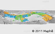 Political Panoramic Map of Panama, desaturated