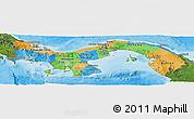 Political Panoramic Map of Panama, satellite outside, bathymetry sea
