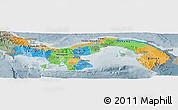 Political Panoramic Map of Panama, semi-desaturated