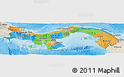Political Panoramic Map of Panama, shaded relief outside, bathymetry sea