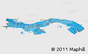 Political Shades Panoramic Map of Panama, cropped outside