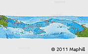 Political Shades Panoramic Map of Panama, satellite outside, bathymetry sea