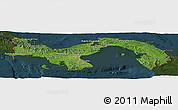 Satellite Panoramic Map of Panama, darken
