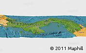 Satellite Panoramic Map of Panama, political shades outside, satellite sea