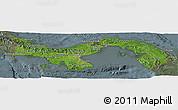 Satellite Panoramic Map of Panama, semi-desaturated