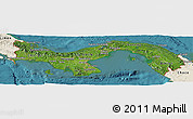 Satellite Panoramic Map of Panama, shaded relief outside, satellite sea