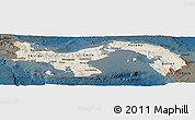 Shaded Relief Panoramic Map of Panama, darken
