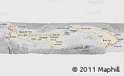 Shaded Relief Panoramic Map of Panama, desaturated