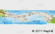 Shaded Relief Panoramic Map of Panama, physical outside