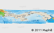 Shaded Relief Panoramic Map of Panama, political outside, shaded relief sea