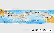Shaded Relief Panoramic Map of Panama, political shades outside, shaded relief sea