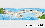 Shaded Relief Panoramic Map of Panama, satellite outside, shaded relief sea