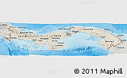 Shaded Relief Panoramic Map of Panama, semi-desaturated, land only