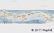 Shaded Relief Panoramic Map of Panama, semi-desaturated