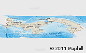 Shaded Relief Panoramic Map of Panama, single color outside