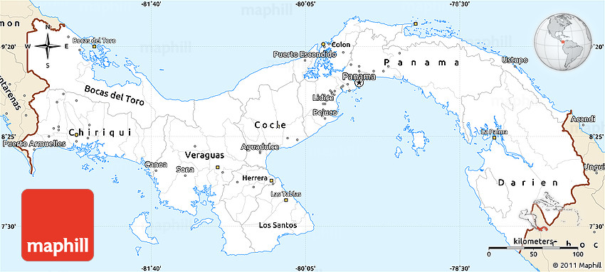 Classic Style Simple Map Of Panama - Map panama