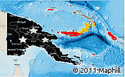 Flag 3D Map of Papua New Guinea, shaded relief outside